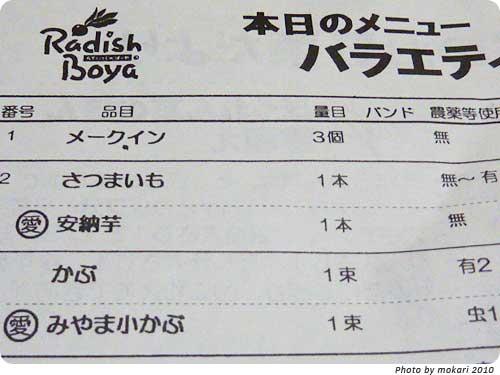 20101202-8 らでぃっしゅぼーや宅配の1週間目