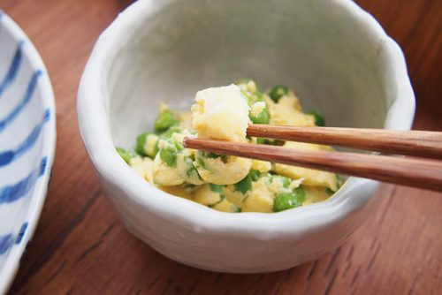 副菜(湯せん)グリーンピースの卵とじ