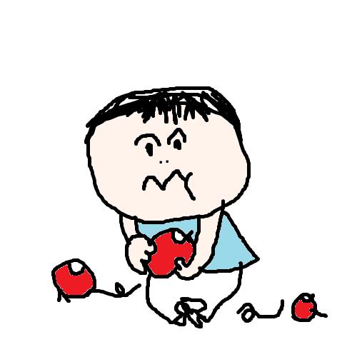 akachan98 りんごをかじる1歳児